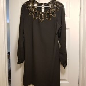 S.L. Fashions Black sheer sleeved cocktail dress